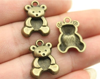 6 Teddy Bear Charms, Antique Bronze Tone (1G-159) NEW3
