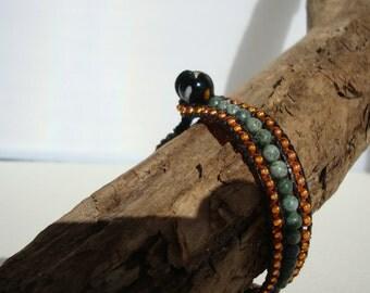 Bracelet three ranks, Bohemian chic, ethnic, orange, green