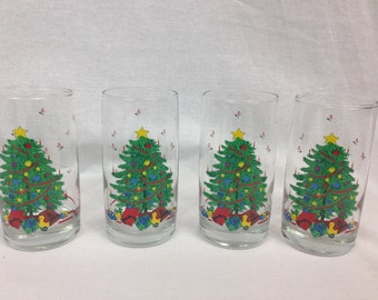 Vintage Christmas Tree Highball Glasses Set of Four