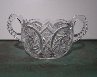 Pressed Glass Sugar Bowl