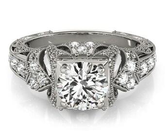 Victorian Engagement Ring, Victorian Diamond Ring, Milgrain Engagement Ring,Art nouveau engagement ring