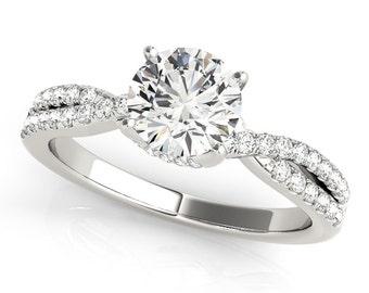 Infinity Diamond Engagement Ring, Diamond Engagement Infinity Ring, Split Shank Diamond Ring in 14k White gold, Diamond Ring