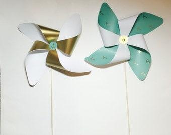 Mint Nautical Pinwheels