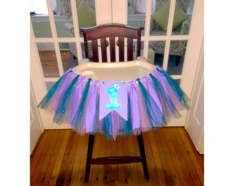 Mermaid High Chair Skirt , Mermaid Tutu, Mermaid Highchair Banner