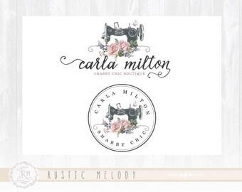 Sewing Logo Design Sewing Machine Logo Boutique Logo Design  Fabric Shop Logo Branding Floral Logo