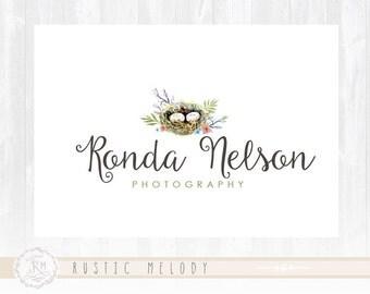 Nest Logo Photography Logo Design Floral Logo Boutique Logo Watercolor Logo Decor Logo Design Watermark