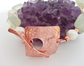 Prehnite Bracelet - Copper Bracelet - Handmade Copper Clasp - Prehnite, Copper and Freshwater Pearl Bracelet with Handmade Copper Clasp
