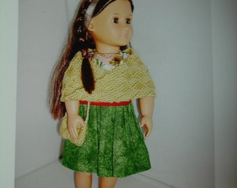"""Christmas dress for 18"""" doll with cape, purse and shoes to match"""