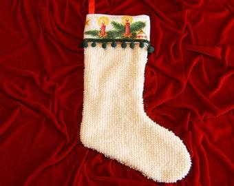 Christmas Stocking, Retro Christmas Stocking, Chenille Christmas Stocking, Upcycled Christmas Stocking, Lined Christmas Stocking