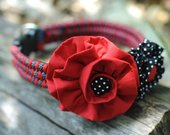 Red & Black Polka Dot Thick Dog Collar Set With Two Coordinating Removable Vintage Fabric Flower Blooms