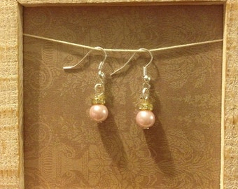 Pink christmas ornament earrings