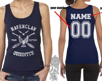 CAPTAIN - Custom Back, Ravencl Quidditch team Captain WHITE print on Female tank (Gildan Softstyle junior 64200L)