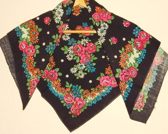 Shawl  - Folk Russian style - chale russe - Black - Pink - Blue head scarf - Floral ornament  Russian snawl