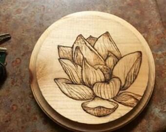 Wood Burned Lotus