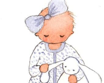 Baby Girl With Bunny, Art Print, Nursery Art, Baby Gift, Nursery Decor, New Baby, Children's Art, Bunny, Baby Shower, Baby, Kid's Room ideas