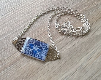 Portuguese tile necklace, tile necklace, gift for her, OOAK necklace, Portuguese jewelry