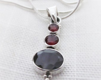 Radiant, Red Garnet Gemstone, Silver Pendant Necklace