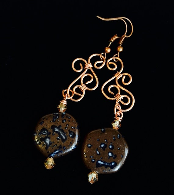 Copper chandelier earrings, copper and brown beaded earrings, copper earrings, copper dangle earrings, beaded dangle earrings, earrings