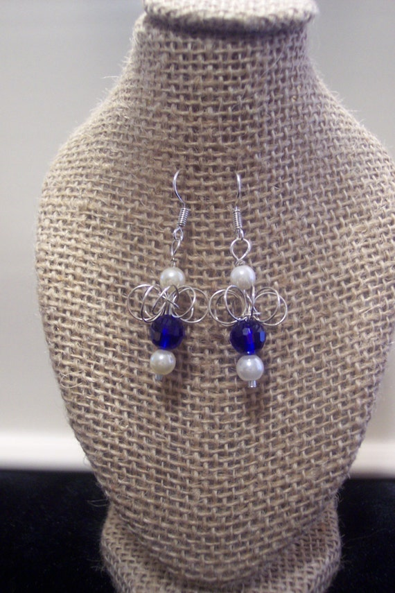 Sterling silver, handcrafted, artisan, drop/ dangle earring with a dark blue Austria crystal and a pearl
