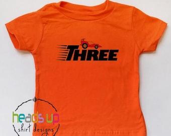3rd Birthday Shirt Racecar - Three Birthday Tee Boy/Girl Race Car - Third Bday Racecar t-shirt - 3 Trendy Birthday Gift - Car Party Gift