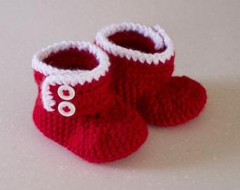 Baby Crochet High Top Shoe Bootie, Christmas 3-6 Months