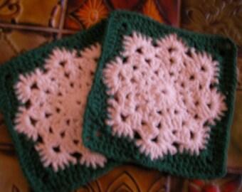 2 Hand Crocheted Dishcloths - Washcloths  Snowflake Green & Cream