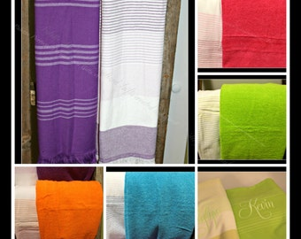 Persoalized Beach Towels, Genuine Turkish Beach Towels, Monogrammed Beach Towels, Embroidered Cotton Beach Towels Customized Cotton Towels