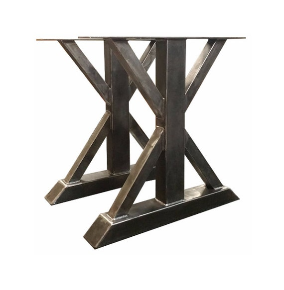 Dining table bases metal - Metal Trestle Table Legs Custom Made Box Steel Barn Wood