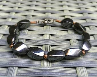 Hematite Mineral bracelet, Clasp Bracelet, Chic, Charcoal Color Braclet