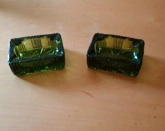 A Set Of Two Vintage Green Glass Dish