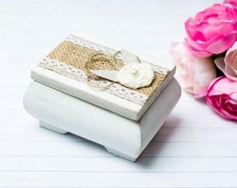 Wedding Ring Box Shabby Chic White Ring Bearer Holder Burlap Personalized Rustic Ring Pillow