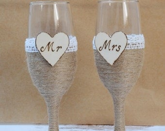 Champagne Flutes Burlap Toasting Glasses Rustic Wedding Glasses Shabby CHic Wedding