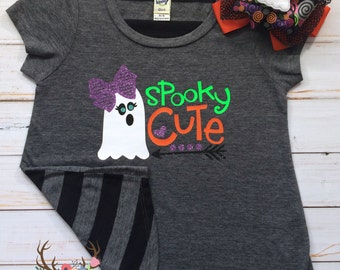 Girls Halloween Shirt - Toddler Halloween Shirt - Girls Spooky Cute Halloween Shirt - Toddler Girl Ghost Halloween Shirt - Spooky Cute Shirt