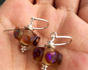 earrings with unique lampwork besds and sterling silver