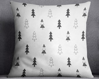 Christmas tree pillow, Scandi pillow cover, Minimalistic decor, Forest pattern, Woodland pillow, 20x20,Simple,Spruce,Modern, Gift, Christmas