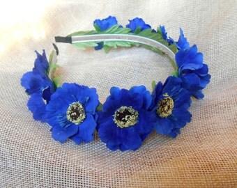Bridal Accessories, Wreath for brides Wedding accessories Ukrainian wreath handmade Український віночок dark blue cornflowers
