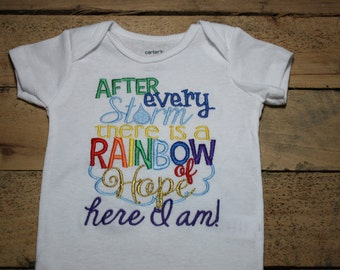 Rainbow Baby Embroidered Bodysuit with After Every Storm There is a Rainbow of Hope Here I am Bodysuit