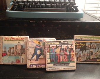Assorted Vintage San Francisco Print Tile Coaster, Housewarming Gift, drink Tile Coaster. Set of 4