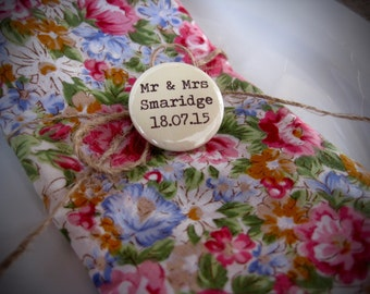 Wedding Badges Mr and Mrs Favour Personalised Cream - Pin Buttons - Boho Rustic Wedding