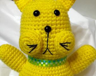 Crocheted Yellow Cat, Crocheted Yellow Kitty, Amigurumi Cat, Crocheted Kitty Cat
