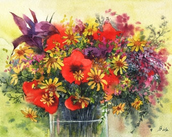 Original bouquet of chamomile, poppies, irises flowers watercolor
