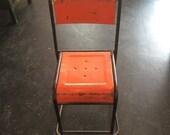 Vintage Industrial Orange  Chair (Mutiple, Stackable)  Rusty, Unique, Indoor and Outdoor