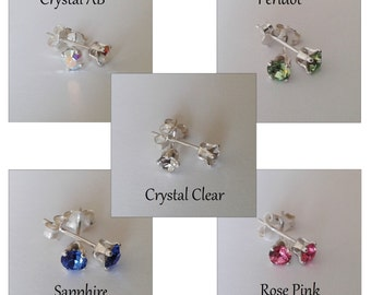 Swarovski Crystal Chaton Stud Earrings- Clear, Aurora Borealis, Rose Pink, Sapphire and Peridot