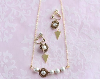 mitubachi necklace & earring bronze