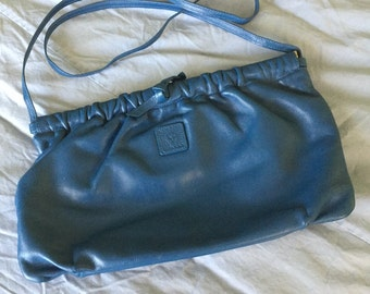 Vintage Anne Klein for Calderon Blue Leather Clutch or Cross Body Purse