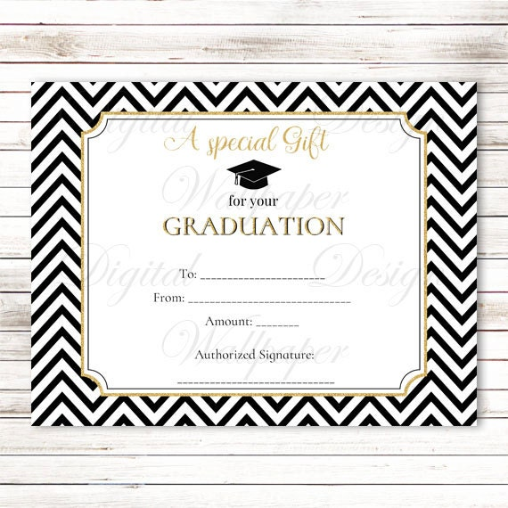 Graduation Gift CertificateGraduation Gift CardGold Glitter