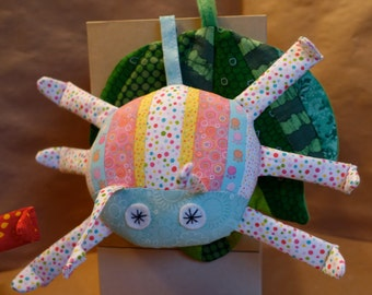Stuffed Bug & Quilted Leaf in Pink/Blue/White