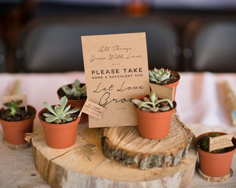 All Things Grow With Love Sign for Succulents - Rustic, Wedding Decoration