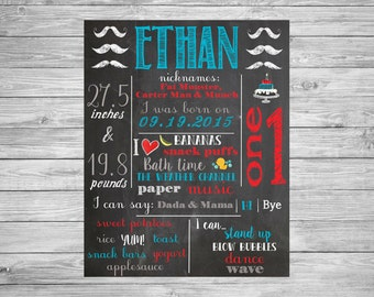 First Birthday Chalkboard/1st Birthday/First Birthday Chalkboard poster/Mustache Theme Decor/Decorations/Printable Custom Chalkboard Sign