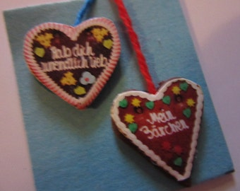 2 x gingerbread heart - Doll House miniature polymer clay